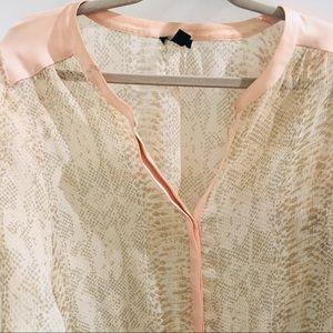 Ann Taylor blouse animal print sheer M